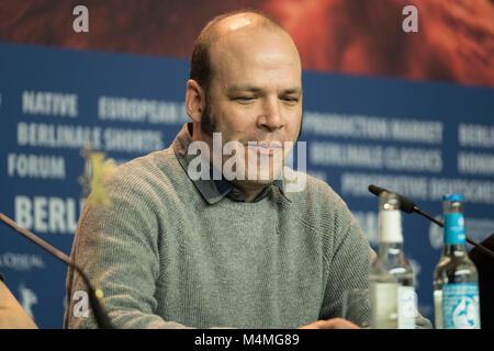 Berlin, Deutschland. 16 Feb, 2018. Nathan Zellner besucht die 'Amsel' Pressekonferenz während der 68. Berlinale - Stockfoto