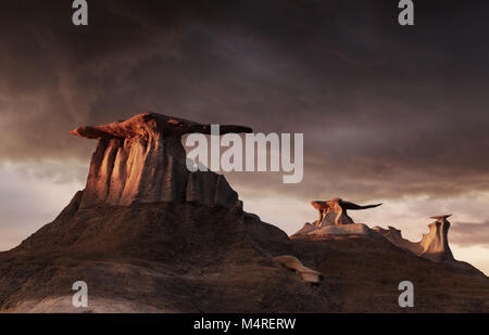 Stein Flügel, bizarre Felsformationen in Bisti Badlands, New Mexico, USA - Stockfoto