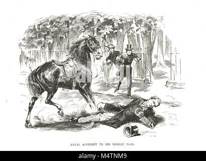 Tödlicher Unfall von Sir Robert Peel, 29. Juni 1850 - Stockfoto