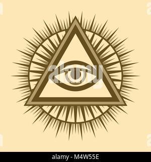 Alles sehende Auge Gottes (Das Auge der Vorsehung | Auge der Allwissenheit | leuchtende Delta | Oculus Dei). Mystische - Stockfoto