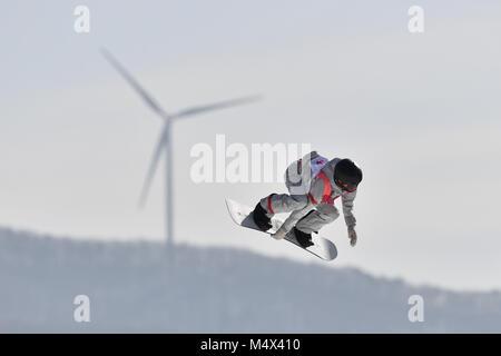 Allgemein, Snowboarderin in Aktion, Snowboard Damen Big Air Qualifikation am 19.02.2018. Alpensia Skisprung Arena. - Stockfoto