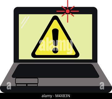 Laptop mit Warnschild über Spionage mit Webcam von einem Hacker oder Spyware. Auf weissem Hintergrund. - Stockfoto