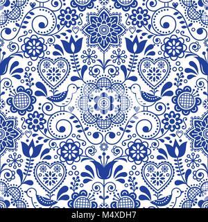 Nahtlose Volkskunst vector Pattern mit Vögeln und Blumen, Skandinavischen navy blue sich wiederholende Floral Design - Stockfoto