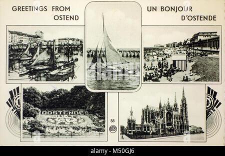 20. jahrhundert alte Ansichtskarte, Altes Foto der Belgischen Küste Urlaub das Ostend/Badeort Oostende, Belgien - Stockfoto
