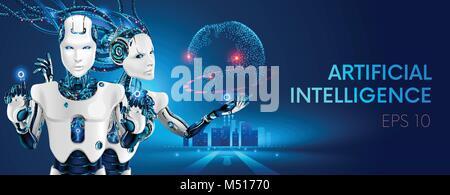 Roboter Mann und Frau mit künstlicher Intelligenz arbeiten mit virtuellen Schnittstelle in kybernetischen Realität. - Stockfoto