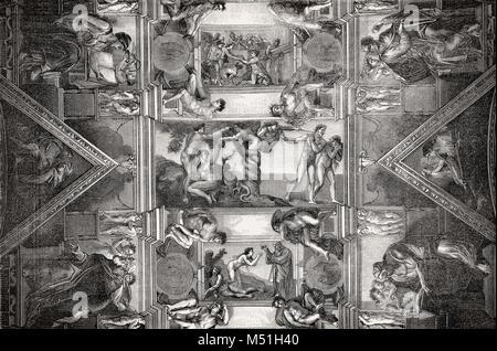 Die Sixtinische Kapelle, Vatikan, Rom, Italien, 19. Jahrhundert - Stockfoto