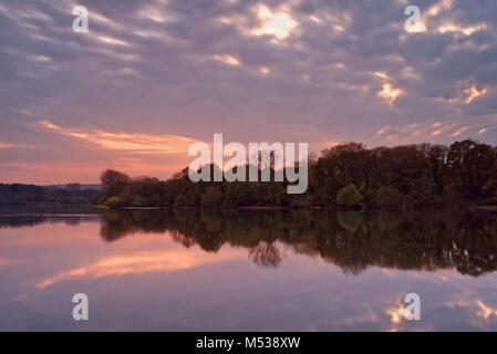 UK, Somerset, Mangold Behälter & Nature Reserve bei Sonnenuntergang - Stockfoto