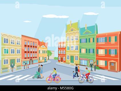 Kleine Stadt mit Fußgängern und Radfahren, Abbildung - Stockfoto