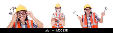 Lustige Bauarbeiter Mit Hammer Und Schraubenschlussel Isoliert Auf