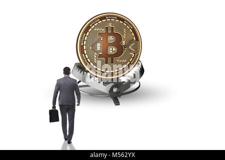 Unternehmer, die in die Falle der bitcoin cryptocurrency - Stockfoto