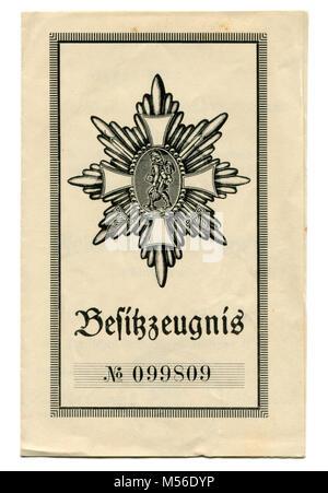 Abdeckung des award Dokument für den deutschen Bereich Ehrennadel (Deutsches-Feld-Ehrenzeichen) des Soldaten des - Stockfoto