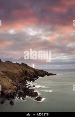 Start Point Lighthouse am frühen Morgen, South Hams - Stockfoto