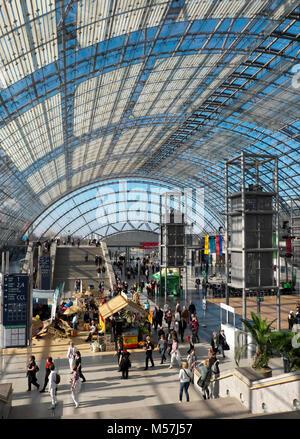 Glashalle der Leipziger Messehallen, Neue Messe, Leipzig, Sachsen, Deutschland - Stockfoto