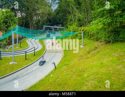 Singapur, Singapur - Januar 30, 2018: Oben Blick auf Singapur Sentosa Skyride Luge, Singapur - Stockfoto