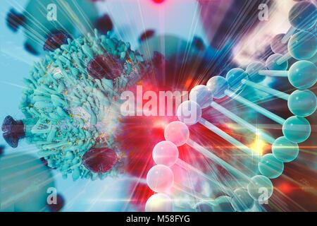Die Gentherapie zur Behandlung von Krebs Konzept der Krebstherapie mit T-Zell- und DNA - Stockfoto
