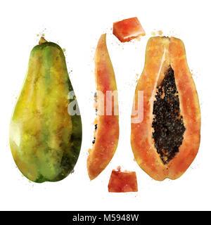 Papaya auf weißem Hintergrund. Aquarell Abbildung