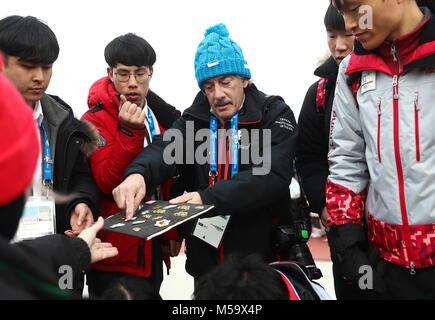 Gangneung, Südkorea. 19 Feb, 2018. GANGNEUNG, SÜDKOREA - 19. FEBRUAR 2018: Getty Images Fotograf Bruce Bennett (C) - Stockfoto