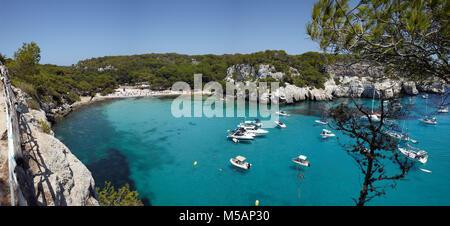 Erhöhten Blick auf Cala Macarella Menorca, Balearen, Spanien - Stockfoto