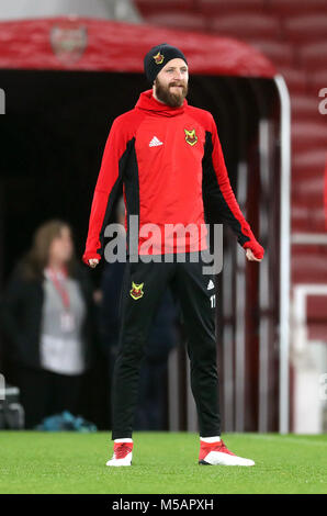 Ostersunds FK's Curtis Edwards während des Trainings im Emirates Stadium, London.