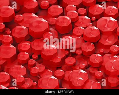Zusammenfassung Hintergrund mit roten achteckige Formen gebildet. 3D-Darstellung. - Stockfoto