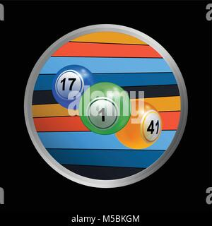 3D-Darstellung eines Trios von Bingo Lotterie Kugeln in metallischen Grenze mit farbigen Streifen auf schwarzem - Stockfoto
