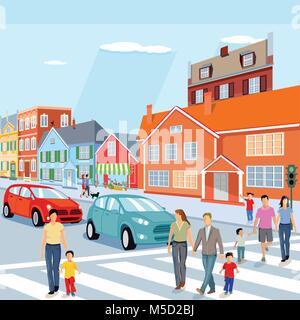 Stadt mit Fußgängerampel und Autos, Abbildung - Stockfoto
