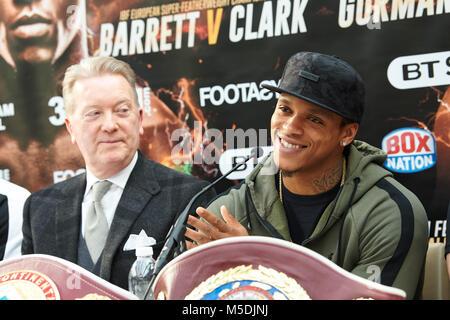 London, Großbritannien. 22 Feb, 2018. 22 Feb, 2018. Frank Warren Boxing Pressekonferenz, London, UK. Anthony Yarde. - Stockfoto