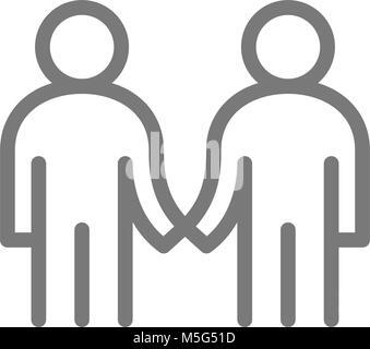 Einfach zwei Geschäftsleute handshakeleitung Symbol. Symbol und Zeichen Vector Illustration Design. Auf weissem - Stockfoto