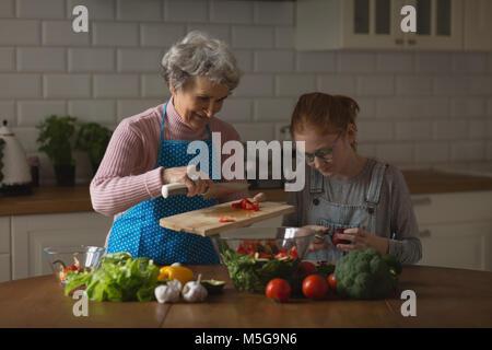 Großmutter und Enkelin Schneiden von Gemüse in der Küche - Stockfoto