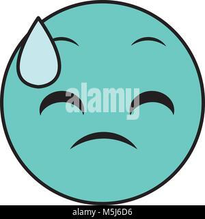 Linienfarbe schwitzen Gesicht Geste emoji Ausdruck - Stockfoto
