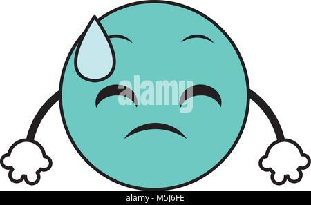 Linienfarbe schwitzen emoji Gesichtsausdruck mit den Armen - Stockfoto
