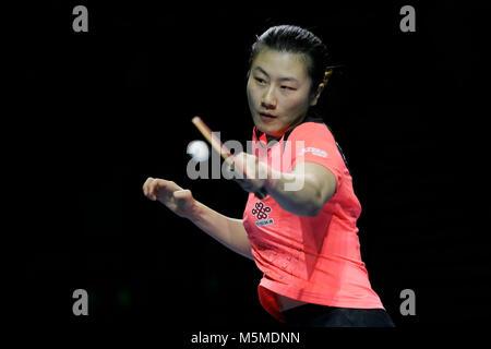 London, Großbritannien. 24 Feb, 2018. Ding Ning China konkurriert gegen Ng Wing Nam von China Hong Kong im Halbfinale - Stockfoto