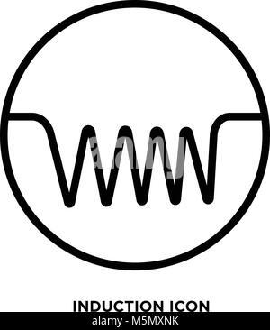 Induktionsherd Flachbild Symbol Vector Illustration Kochen