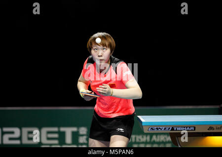 London, Großbritannien. 24 Feb, 2018. Zhu YULING von China während der ITTF-Team WM-Spiel zwischen Zhu YULING von - Stockfoto
