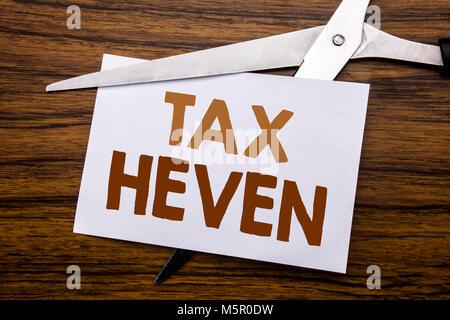 Hand schreiben Bildunterschrift inspiration Übersicht Steuer Heven. Business Konzept für die Ertragsbesteuerung - Stockfoto