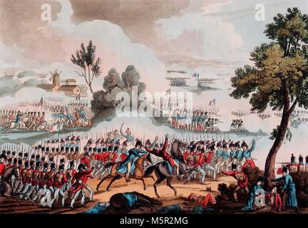 Der linke Flügel der britischen Armee in Aktion an der barrle von Waterloo - 18. Juni 1815 - Stockfoto