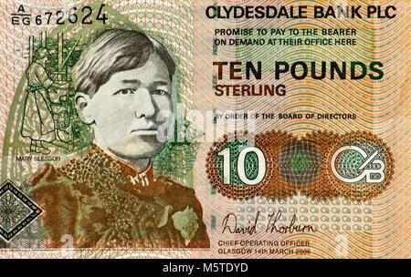 Schottland 10 10 Pound Bank Note - Stockfoto