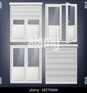Kunststoff Tür Vektor. Moderne weiße Rollladen. Geöffnet und geschlossen wird. Energie sparen. Ecke Tür. PVC-Profil. - Stockfoto