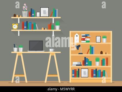 Arbeitsbereich mit Bücherregalen im flachen Stil. Vector Illustration - Stockfoto