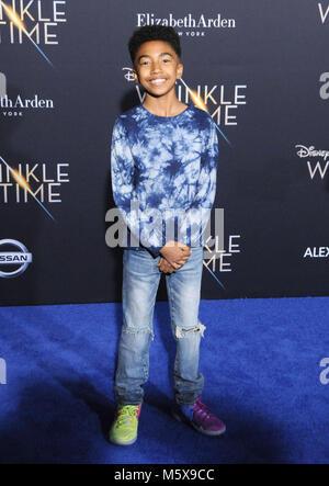 """Los Angeles, USA. 26 Feb, 2018. Schauspieler Miles Braun besucht die Weltpremiere von Disney's """"A Wrinkle In Time"""" - Stockfoto"""