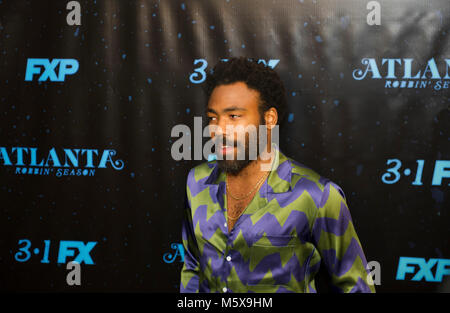"Atlanta, USA. 26 Feb, 2018. Schauspieler / recording artist Donald Glover besucht ""Atlanta Robbin' Saison ""Atlanta - Stockfoto"
