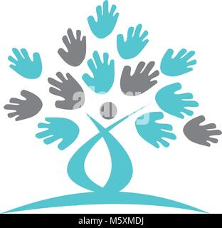 Baum Hand Logo Design Template Vector - Stockfoto