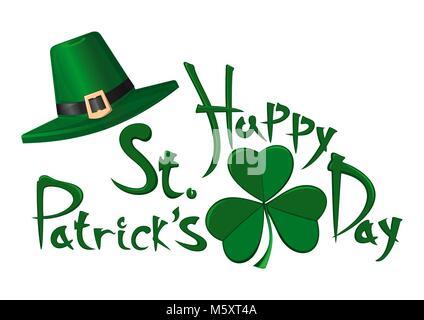 St. Patricks Tag Vektor typografische Gestaltung Elemente auf weißem Hintergrund. Grüne Kobold Hut, Kleeblatt und - Stockfoto
