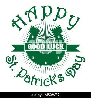 Vintage horseshoe Symbol. Retro Grußkarte. Viel Glück. St. Patricks Day Feier Symbol. Happy St. Patricks Tag. Party - Stockfoto