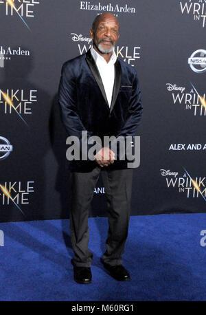 """Los Angeles, USA. 26 Feb, 2018. Schauspieler Heinrich Sanders besucht die Weltpremiere von Disney's """"A Wrinkle In - Stockfoto"""