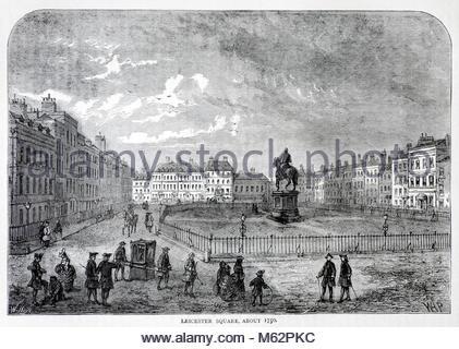 Leicester Square London im Jahre 1750, antique Gravur von 1875 - Stockfoto