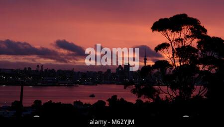 Auckland Skyline bei Nacht - Stockfoto