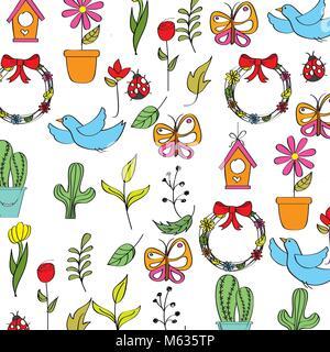 Frühling Hintergrund mit Blumen Schmetterlinge, Marienkäfer Vögel und Blätter - Stockfoto
