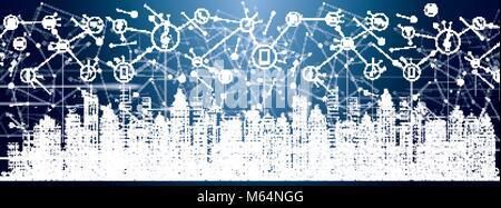 Smart City mit Neon-Gebäude, Netzwerke und Internet der Dinge-Symbole. Vektor-Illustration.