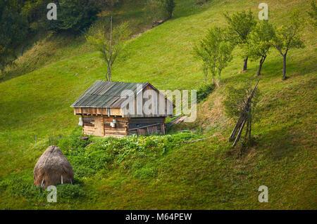 Alten rustikalen hölzernen Scheune auf der grünen Wiese in Rucar-Bran Pass, Brasov County, Siebenbürgen, Rumänien. - Stockfoto